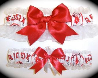 Boston Red Sox Wedding Garter Set    Handmade   Keepsake and Toss Bridal rw1