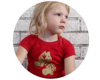Roller Skate Baby Onepiece Bodysuit, Cotton Infant Clothing, Roller Derby Baby Gift, Red With Gold Skate, Hand Printed, screenprint Shirt