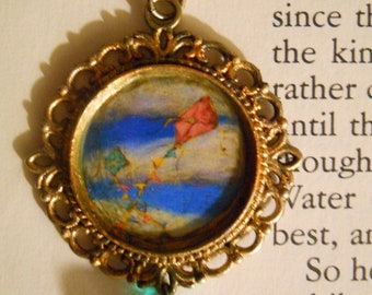 Necklace Pendant, Cameo Art Pendant, Kites in the Sky Necklace,