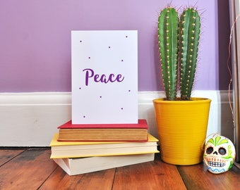 Peace Typography Postcard Print | Inspirational Print A6 A5 A4 | Typography Greetings Card | Purple Star Print Card | Positive Wall Print |