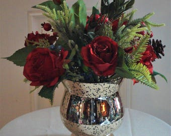 Christmas Rose Arrangement Christmas Gift Rose Arrangement Christmas Floral Arrangement