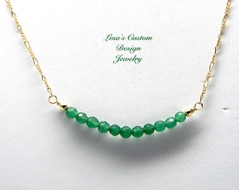 Emerald bead bar gold filled chain necklace