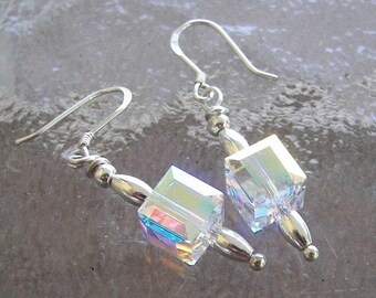 Swarovski Clear Crystal Cube Earrings, Ice Cube Earrings, Dangling Cube Earrings, Minimalist Jewelry, Gift Under 15, Stocking Stuffer