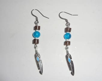 Earrings wooden beads & feather - gift idea