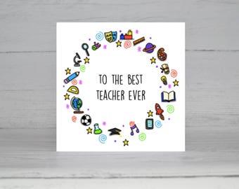 Thank You Teacher Card, Thank You, Best teacher
