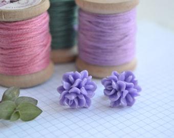 Purple Flower Earrings on Surgical Steel Posts | Purple Stud Earrings | Little Wren | SALE