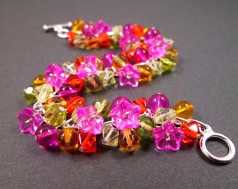 Silver Cha Cha Bracelet, Tropical Bouquet, Colorful Flower Charm Bracelet, FREE Shipping U.S.
