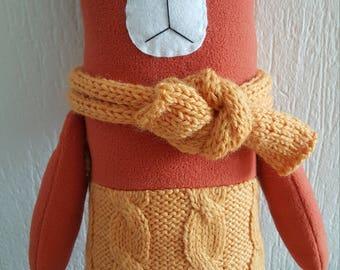 "Soft toy bear ""Orange "" Stuffed Animal & Plushies 100% Handmade 38 cm"