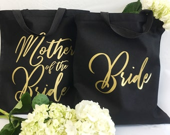 Bridesmaid Tote Bag - Gold Foil Tote - Custom Makeup Bag - Bridal Party Tote - Wedding Tote Bag - Canvas Tote Bag - Bridal Party Favor