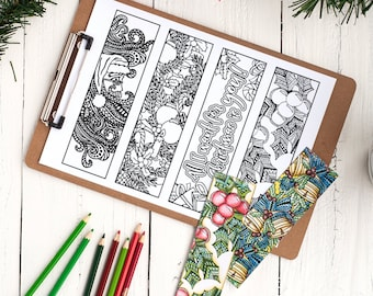 Coloring Christmas Bookmarks x12 | Printable Christmas bookmark coloring pages  | 8.5x11 PDF | Christmas gift or classroom  Xmas activity