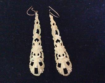 Vintage Boho Earrings, Metal Cut Out Dangle, So....Boho!