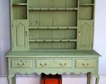 Antique vintage kitchen dresser painted in Miss Mustard Seed Milk Paint Luckett's Green