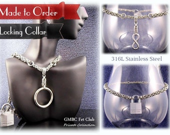 "Made to Order - ""Fourplay"" Locking Steel Collar with Vanilla Converter  - 4 Styles one Collar"