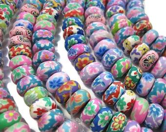 12mm Rondelle parure en pâte polymère Floral perles couleurs assorties de 50 Perles