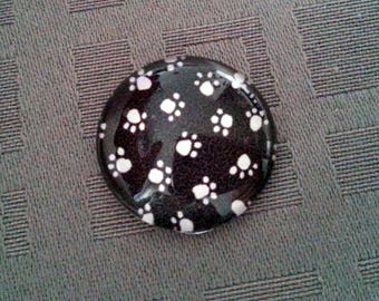 Cabochon cat's paw, black and white cat paws, cabochon 20mm glass cabochon