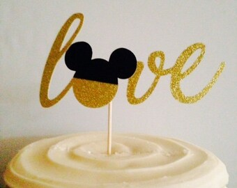 Wonderful Engagement / Bridal Shower / Wedding Cake Topper in Sparkling Glitter - LOVE that mouse!