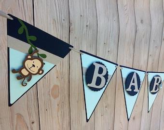 Baby Boy Jungle Banner/Jungle Baby Shower Banner/Handmade Baby Banner