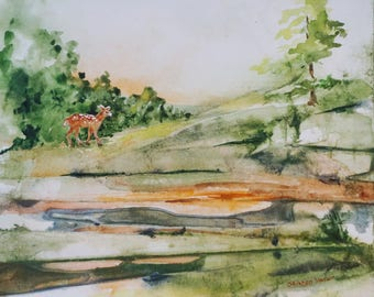 Original Art - Watercolor Painting - Landscape - Deer - Fawn - Wall Art - Wildlife Art - Home Decor - Animal Art