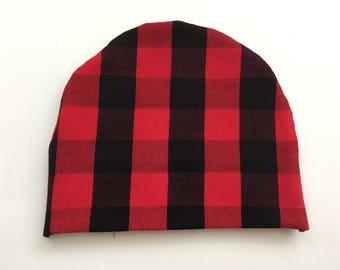 Baby Boy Red & Black Buffalo Plaid Beanie Hat, Newborn Hospital Baby Hat, boy beanie