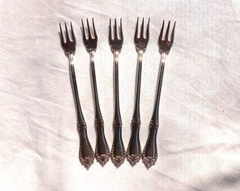 Antique Silverplated Seafood Forks, Reed & Barton Carlton Pattern, Set of Five, Patent June 30, 1896