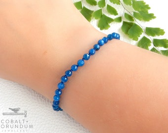 Blue Agate bracelet with sterling silver clasp | blue gemstone natural stone (4,5mm) facet