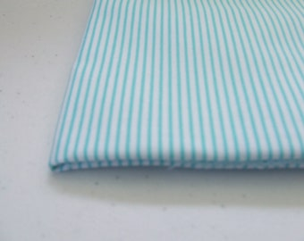 Aqua and White pinstripe cotton fabric..Precious Beginnings....Marcus Fabrics