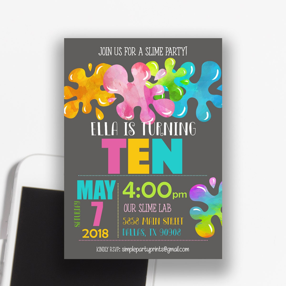 Slime Birthday Party Invitation Slime Birthday Invitations