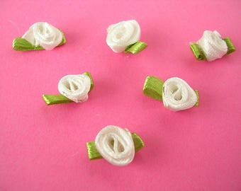 BATCH 6 fabric APPLIQUES: 11mm white rose