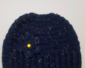 Hand Crochetted Hat with ponytail opening