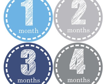 Boy month stickers, Milestone stickers, Baby monthly sticker, Bodysuit monthly sticker, Baby shower gift, Blue Grey stickers, mom to be A151