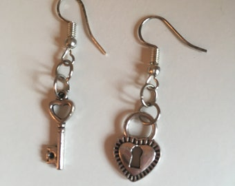 key and lock earrings