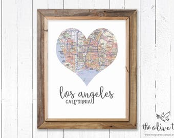 Heart Map print, printable map wall art decor, INSTANT DOWNLOAD - Los Angeles, California