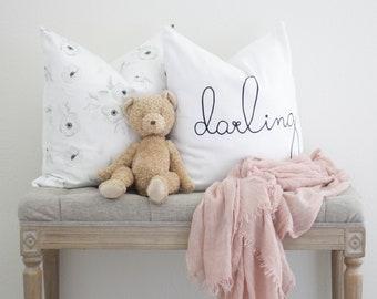 Darling Pillow, Darling linen pillow, Linen Pillow, Nursery Pillow, Accent Pillow