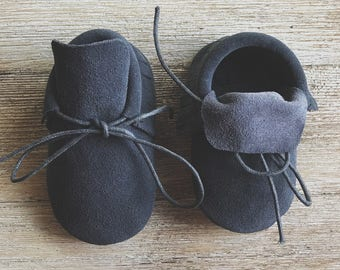 Grey Suede Leather Moccasins, Baby Moccasins, Toddler Moccasins, Leather Moccasins, Leather Boots