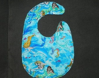 Reversible Baby Bib  Mermaids and Sea Horses  with Turquiose Minky  Baby, Drool, Feeding