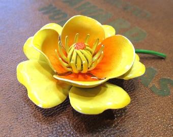 Enamel Flower Pin VINTAGE Yellow Orange Enamel Pin Brooch FLOWER 3-D Enamel Flower Pin Brooch Ready to Wear Vintage Jewelry Supply (A221)