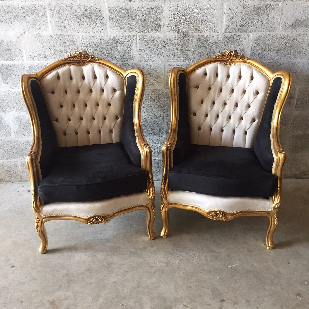 Baroque Tufted Settee Furniture Italian Antique Sofa Refinished Gold Leaf  Reupholster Black Velvet Champagne Tufted French Louis XVI Rococo - Baroque Tufted Settee Furniture Italian Antique Sofa Refinished Gold