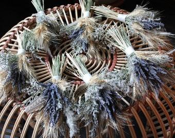 Bridesmaid Wisp Bouquet, dried flower bouquet, dried flower nosegay, lavender bouquet, bridesmaid gift, rustic bridal bouquet, wheat bouquet
