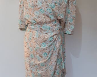 Vintage wrap dress 80s by Charese cream mint green and taupe wrap Dress size small