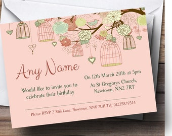 Vintage Shabby Chic Birdcage Coral Personalised Birthday Party Invitations