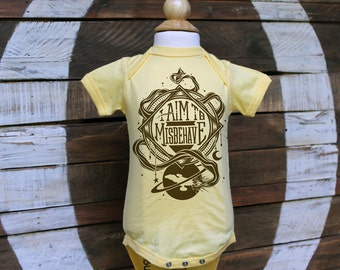 Firefly Baby Bodysuit & Toddler T-shirt   I Aim To Misbehave Serenity Bodysuit   Geeky Baby Gift in Butter Yellow