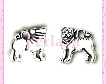 Set of 15 silver dog charms REF935X3