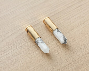 1 pcs of Bullet White Howlite Point Pendant With Copper Real Gold Plated Pendant - Gemstone Pendants