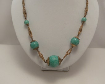 Vintage Deco Marbled Jade Green Glass Ball Necklace in Gold Tone