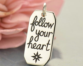 Follow Your Heart compass sterling silver charm or pendant. Gift for adventurer, travel or journey.