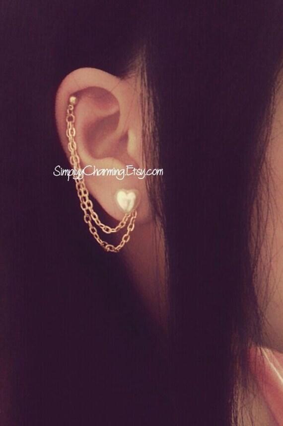 pearl heart cartilage chain earrings lobe helix ear