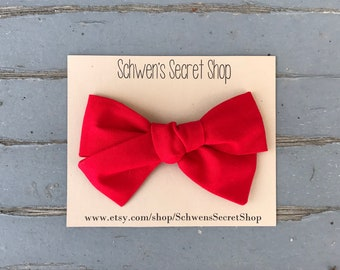 red baby bow, baby girl headband, hand tied bow, red hair bow, red baby headband, baby girl bow, nylon headband, baby bow headband, baby bow