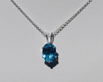 Blue Topaz Necklace,December Birthstone,Sterling Silver,16inch Chain,8x6 Oval,Bridal Jewelry,Birthday Jewelry,Holiday gift