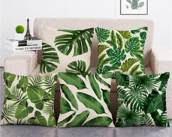 18'' tropical plants green leaves decoration pillow made of cotton and linen