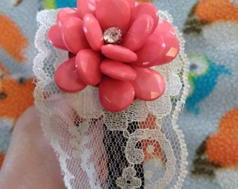 Spring lolita hard headband with coral flower